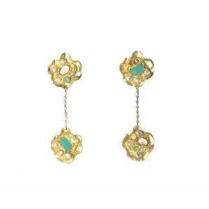 N 20 Nora Made in italy colelctions orecchini cristalli ottone placcato oro foglia oro (3)